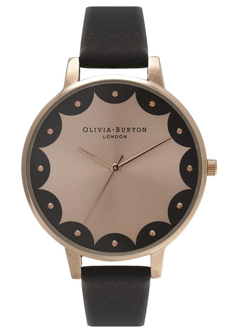 Olivia Burton SCALLOPED EDGE BIG DIAL WATCH - BLACK & ROSE GOLD main image