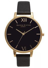 Olivia Burton BIG BLACK DIAL WATCH - GOLD