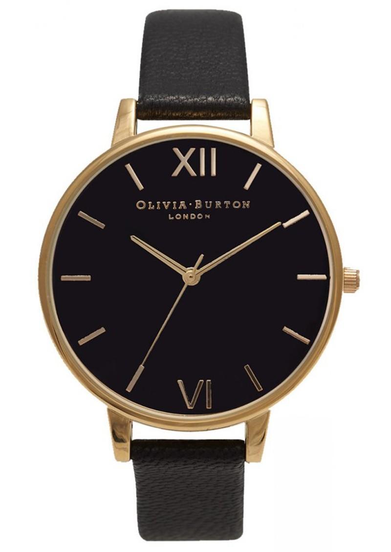 Olivia Burton BIG BLACK DIAL WATCH - GOLD main image
