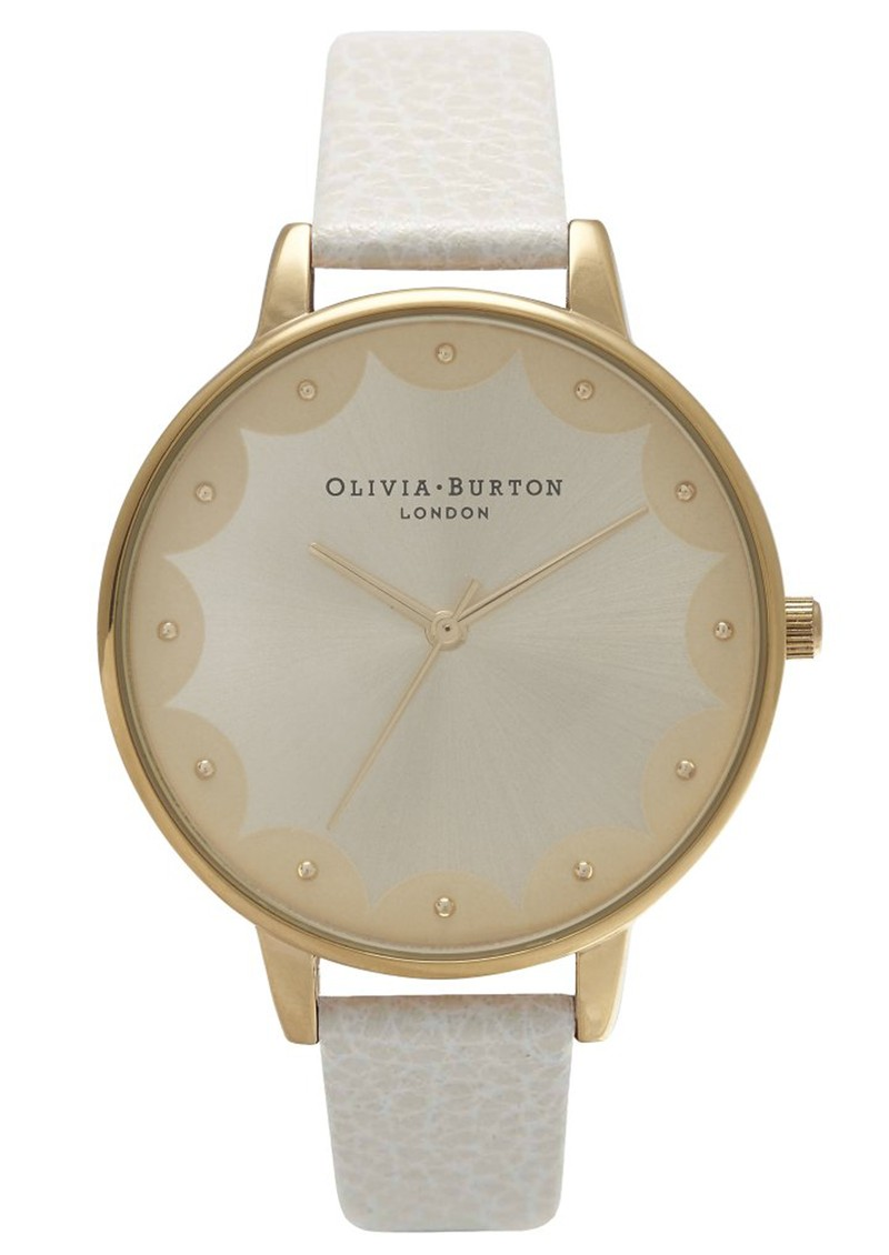 Olivia Burton SCALLOPED EDGE BIG DIAL WATCH - MINK & GOLD main image
