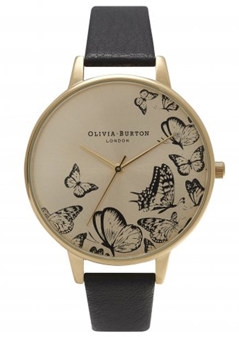 ANIMAL MOTIF MULTI BUTTERFLY WATCH - BLACK & GOLD main image