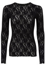 Hanky Panky UNLINED LONG SLEEVED LACE TOP - BLACK