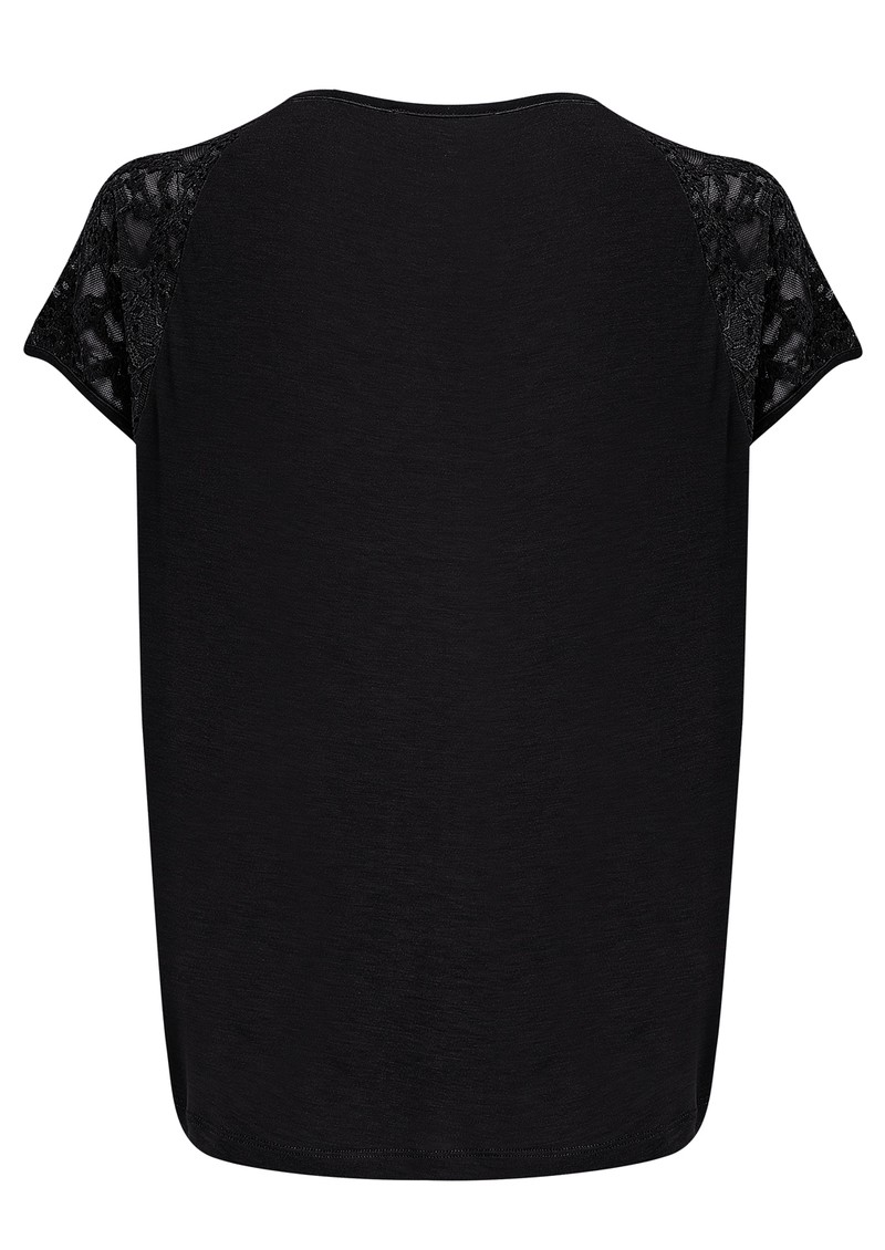 Short Sleeve Lace Detailing Top - Black main image