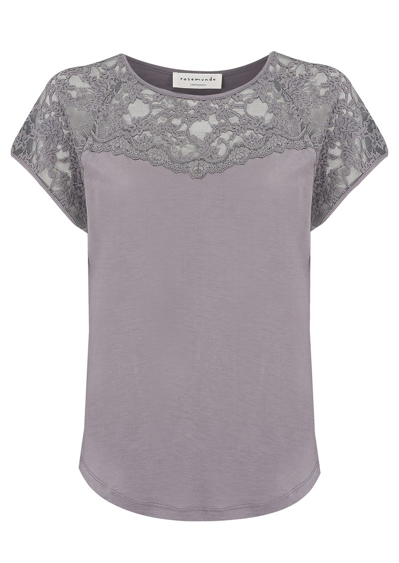 Short Sleeve Lace Detailing Top - Pearl Grey main image