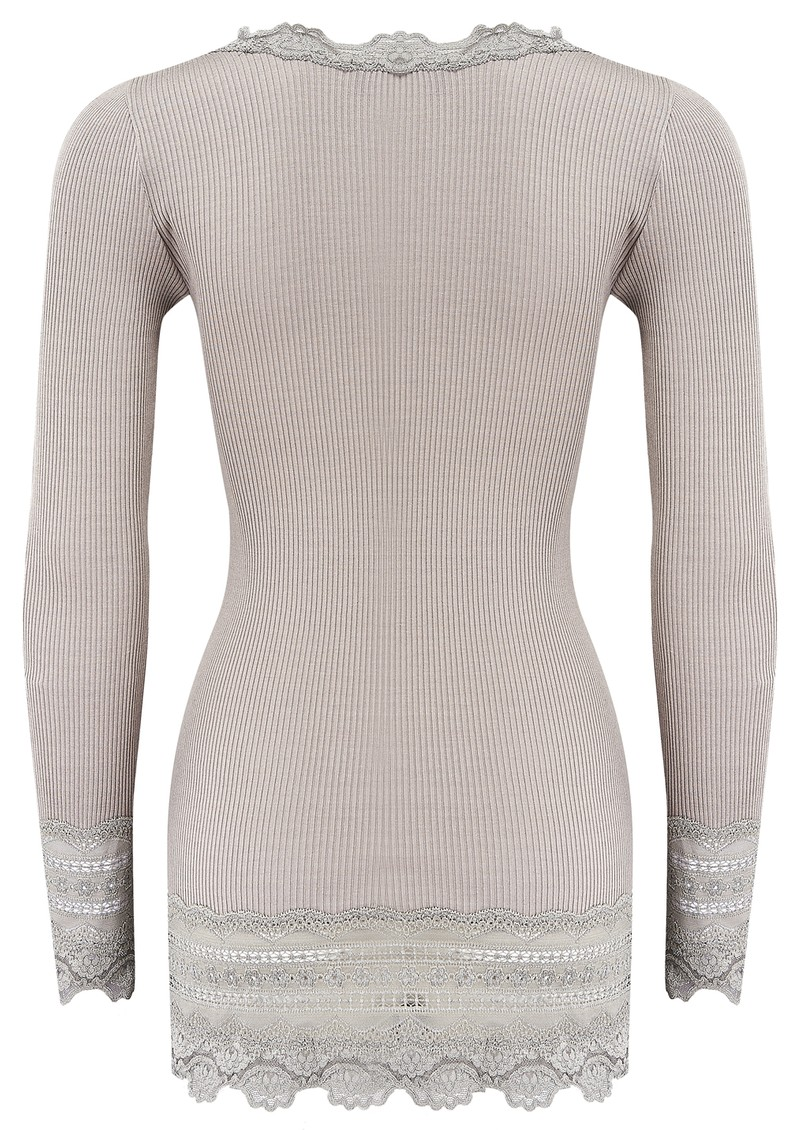 Rosemunde Long Sleeve Wide Lace Silk Blend Top - Earth Grey main image