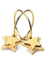 PERNILLE CORYDON DOUBLE STAR CREOL EARRINGS - GOLD