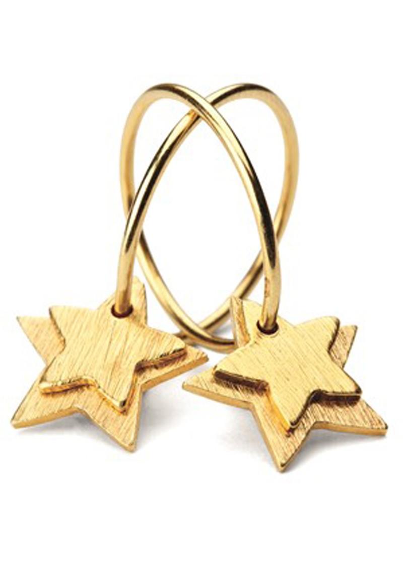 PERNILLE CORYDON DOUBLE STAR CREOL EARRINGS - GOLD main image