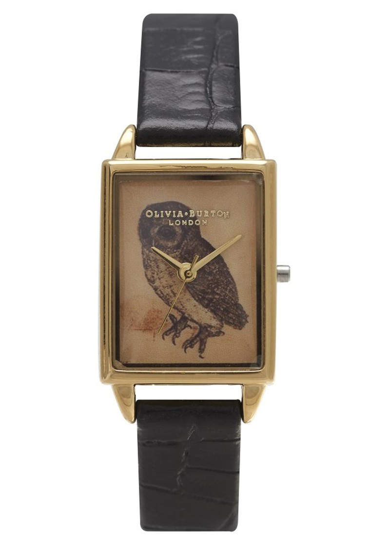 Woodland Rectangular Owl Watch - Black Croc and Gold main image