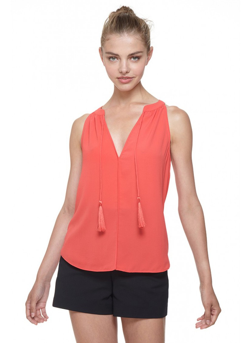 COOPER AND ELLA LAYLA TASSEL BLOUSE - CORAL main image