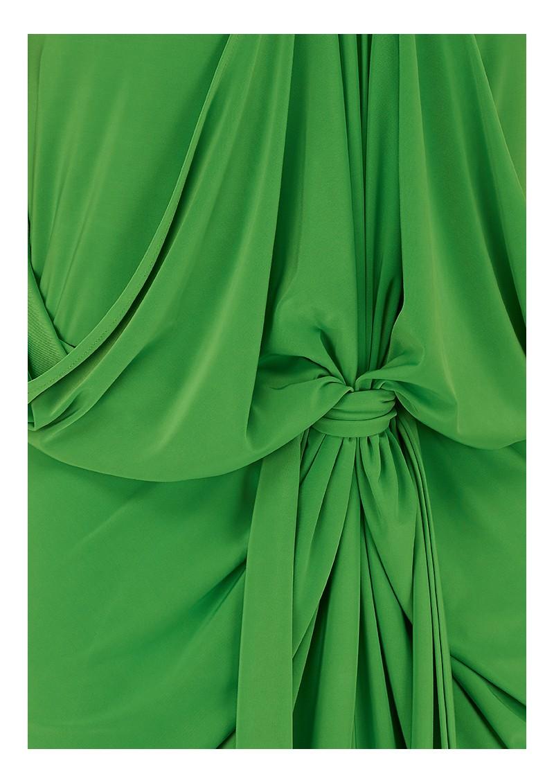 MISA Los Angeles FRONT TIE WAIST HALTER DRESS - GREEN  main image