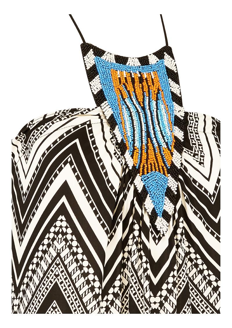 MISA Los Angeles FRONT EMBELLISHED PRINTED DRESS - BLACK & WHITE main image