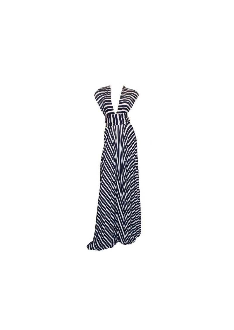 Butter By Nadia Long Jersey Dress - Varigated Navy main image
