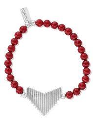 ChloBo Sun Dance Red Coral Bracelet with Arrow Charm - Silver