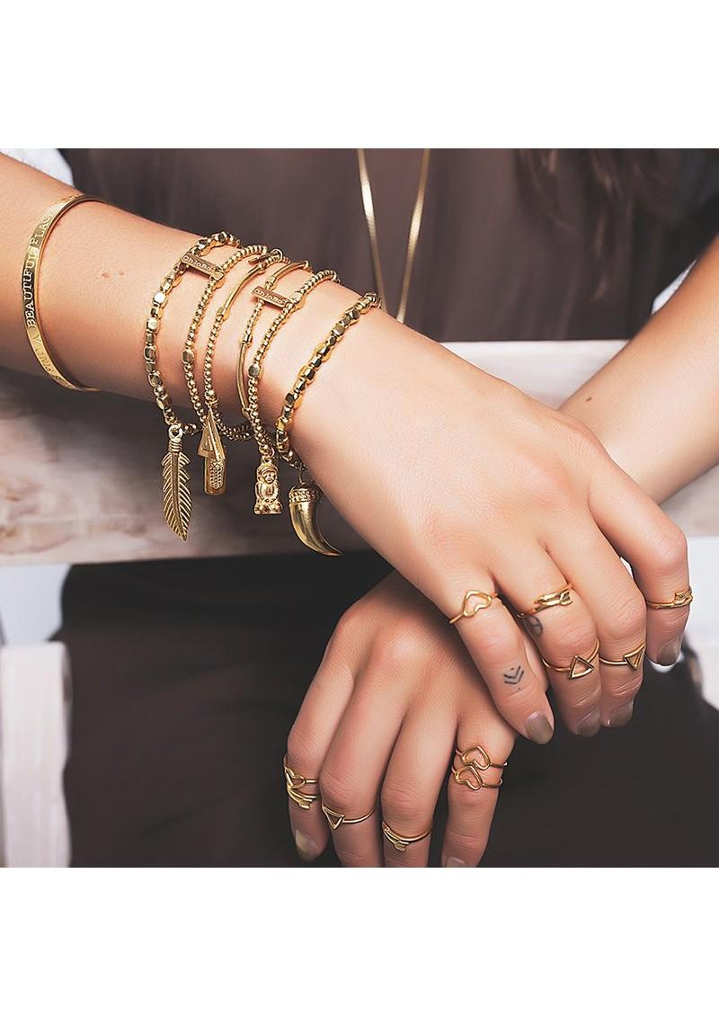 ChloBo Sun Dance Pyrite Bracelet with Decorated Hamsa Hand - Gold main image