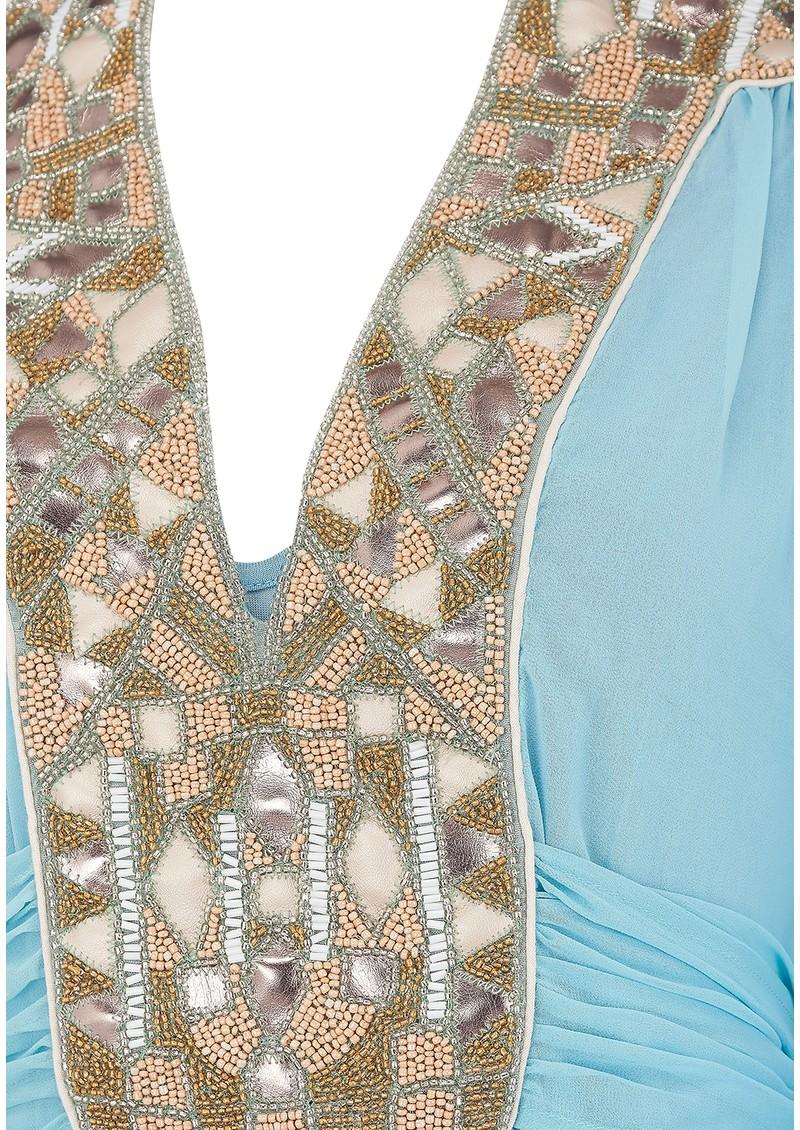 Blank Rigvedic Embellished Dress - Dusty Blue main image