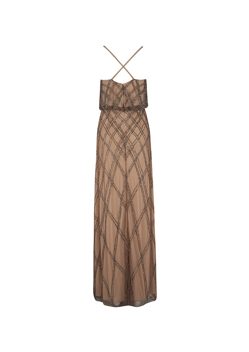 ADRIANNAPAPELL Long Beaded Spaghetti Strap Gown - Mink main image