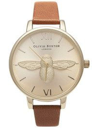 Olivia Burton Woodland Moulded Bee Watch - Tan & Gold