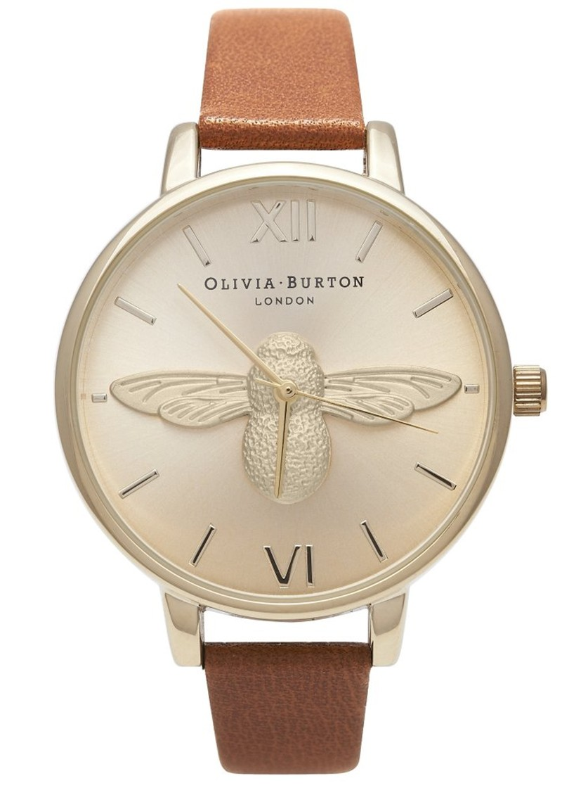 Olivia Burton Woodland Moulded Bee Watch - Tan & Gold main image