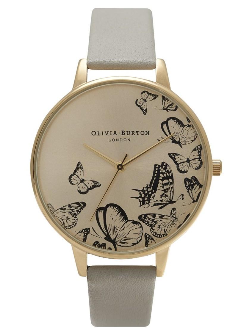 Olivia Burton Animal Motif Multi Butterfly Watch - Grey & Gold main image