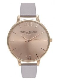 Olivia Burton Big Dial Watch - Grey Lilac & Rose Gold
