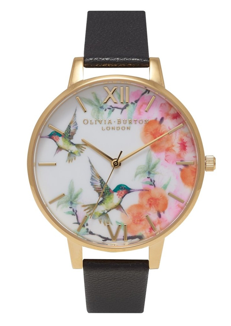 Olivia Burton Hummingbird Painterly Print Watch - Black & Gold main image