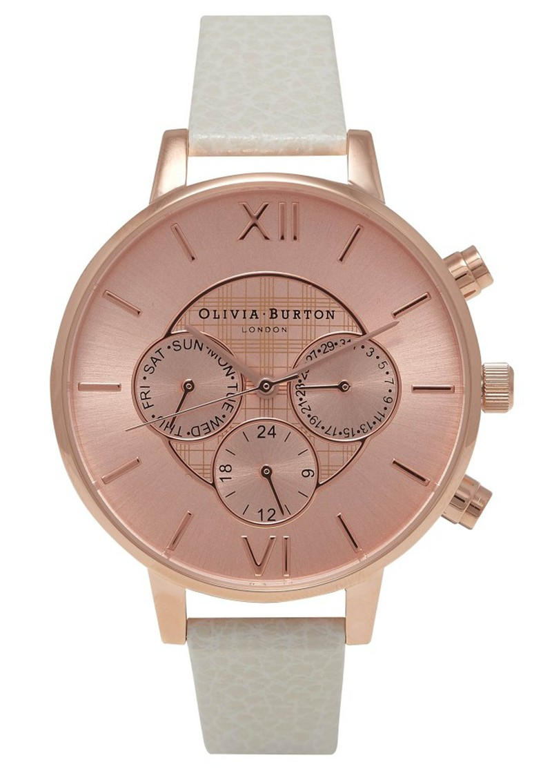 Olivia Burton Chrono Detail Check Design Watch - Mink & Rose Gold main image