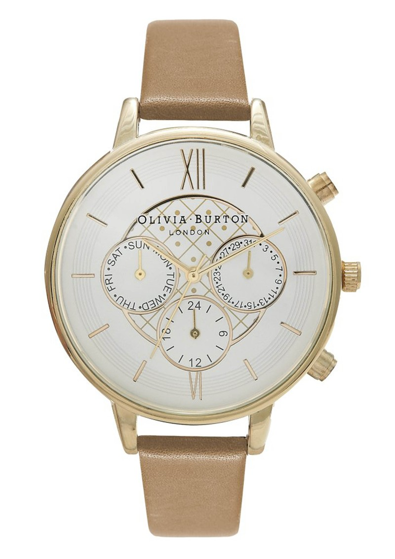Olivia Burton Chrono Detail White Face Watch - Tan & Gold main image