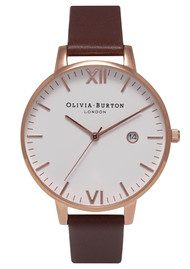 Olivia Burton Timeless White Face Watch - Brown & Rose Gold