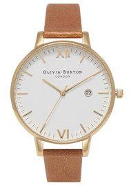 Olivia Burton Timeless White Dial Watch - Tan & Gold