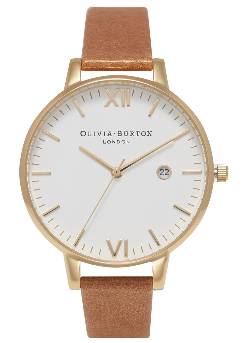 Olivia Burton Timeless White Dial Watch - Tan & Gold main image