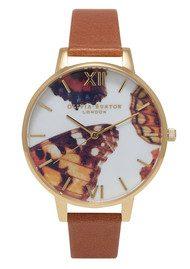 Olivia Burton Woodland Multi Butterfly Watch - Brown & Gold