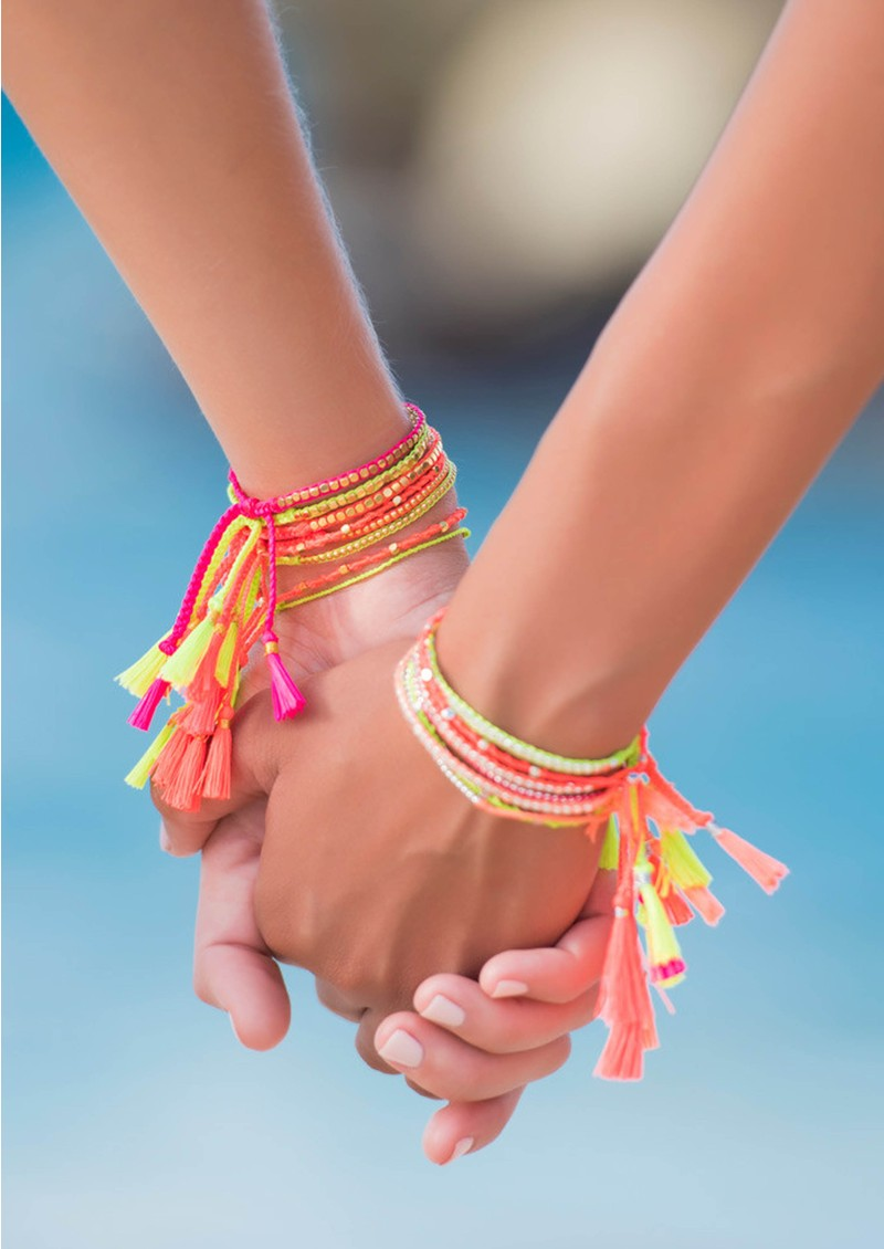 Jiya Jewellery Tahiti Bracelet - Gold & Neon Orange main image