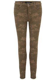 J Brand Mid Rise Cropped Skinny Jeans - Olive Drab Camo
