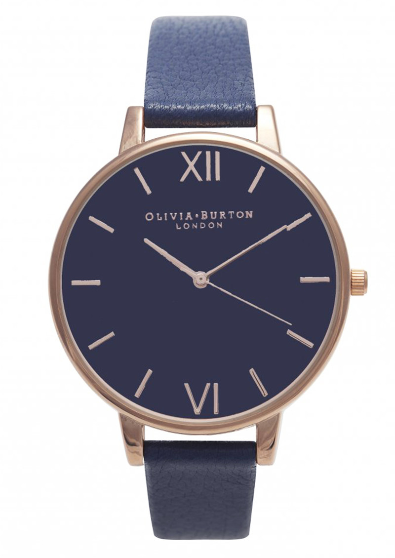 Olivia Burton Big Dial Navy Dial Watch - Navy & Rose Gold main image