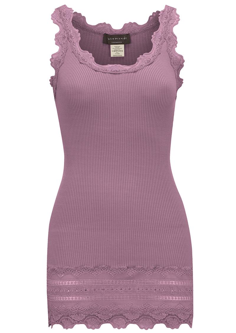 Rosemunde Wide Lace Silk Blend Tank - Purple Grape main image