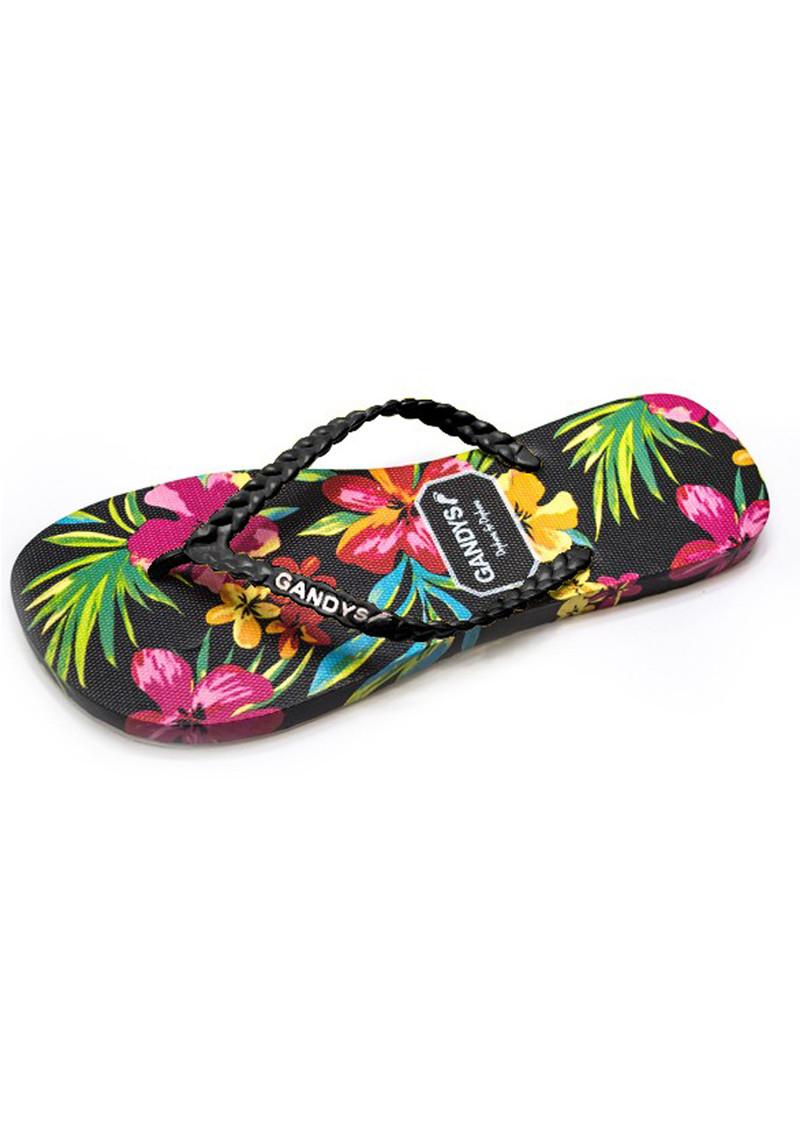 15d0afb9d GANDYS Tropical Flower Flip Flops - Black main image ...