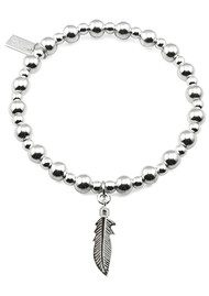 ChloBo Mini Small Ball Bracelet with Feather Charm - Silver