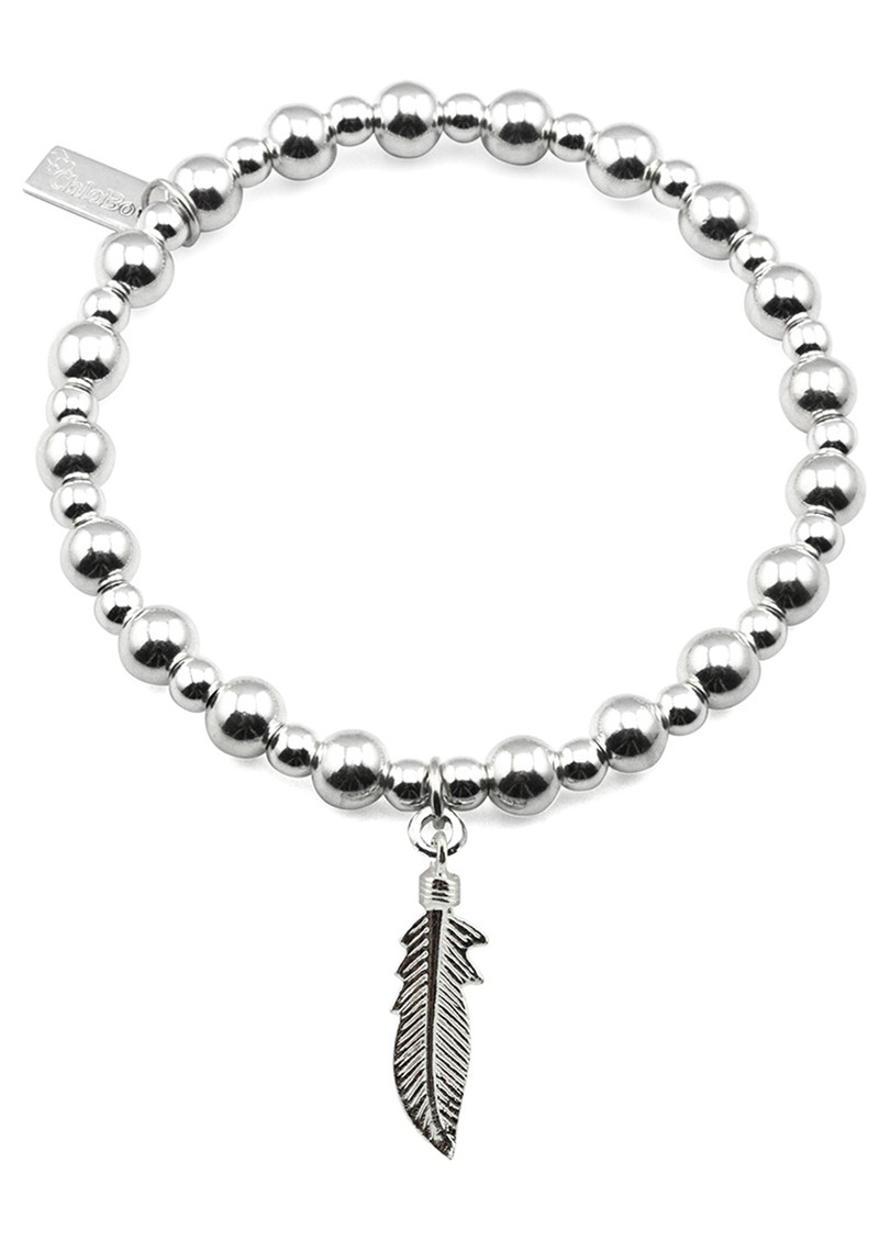 ChloBo Mini Small Ball Bracelet with Feather Charm - Silver main image