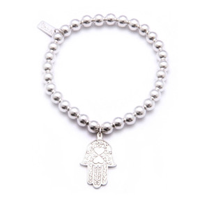 Small Ball Bracelet with Hamsa Hand Charm - Silver
