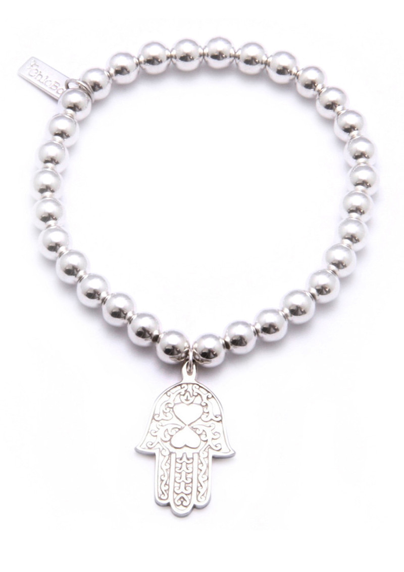 Small Ball Bracelet with Hamsa Hand Charm - Silver main image