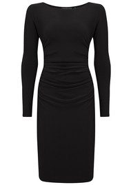 NORMA KAMALI Long Sleeve Shirred Waist Dress - Black