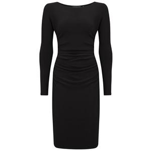 Long Sleeve Shirred Waist Dress - Black