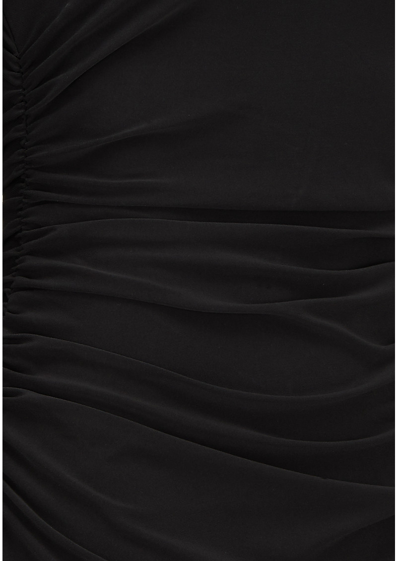 Long Sleeve Shirred Waist Dress - Black main image