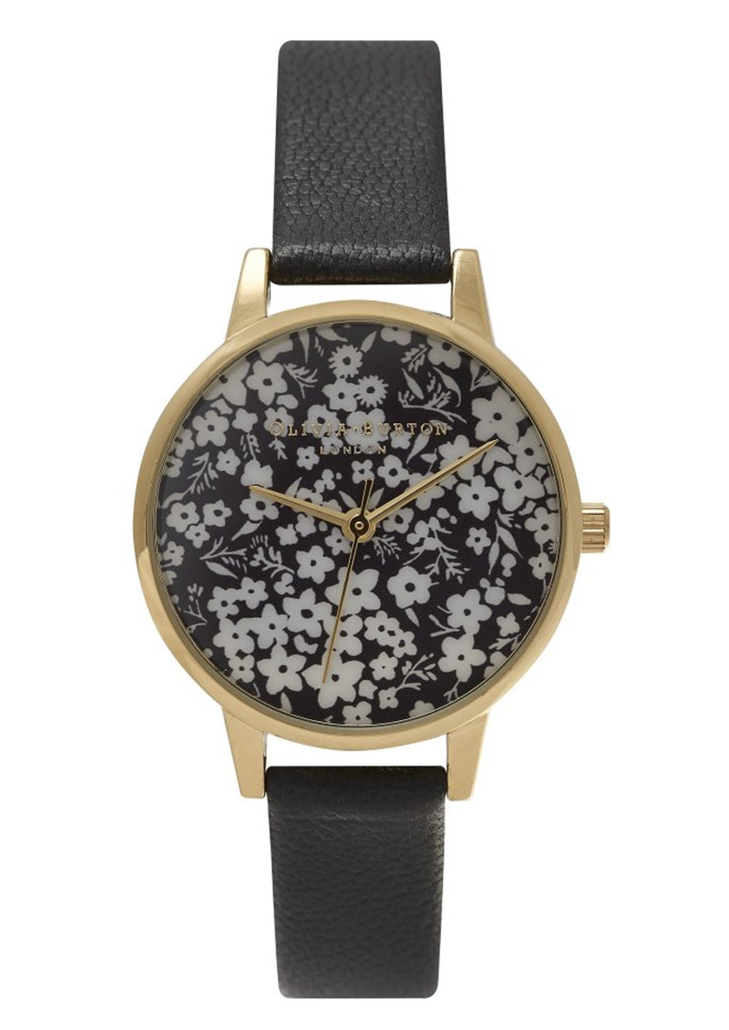 Olivia Burton Monochrome Ditsy Floral Watch - Black & Gold main image