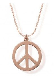 ChloBo Diamond Cut Chain Necklace with Peace Pendant - Rose Gold