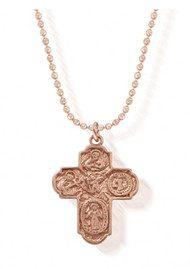 ChloBo Diamond Cut Chain Necklace with Mason Cross Pendant - Rose Gold