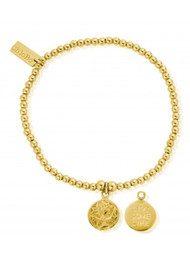 ChloBo Cute Charm Live Love Life Bracelet - Gold