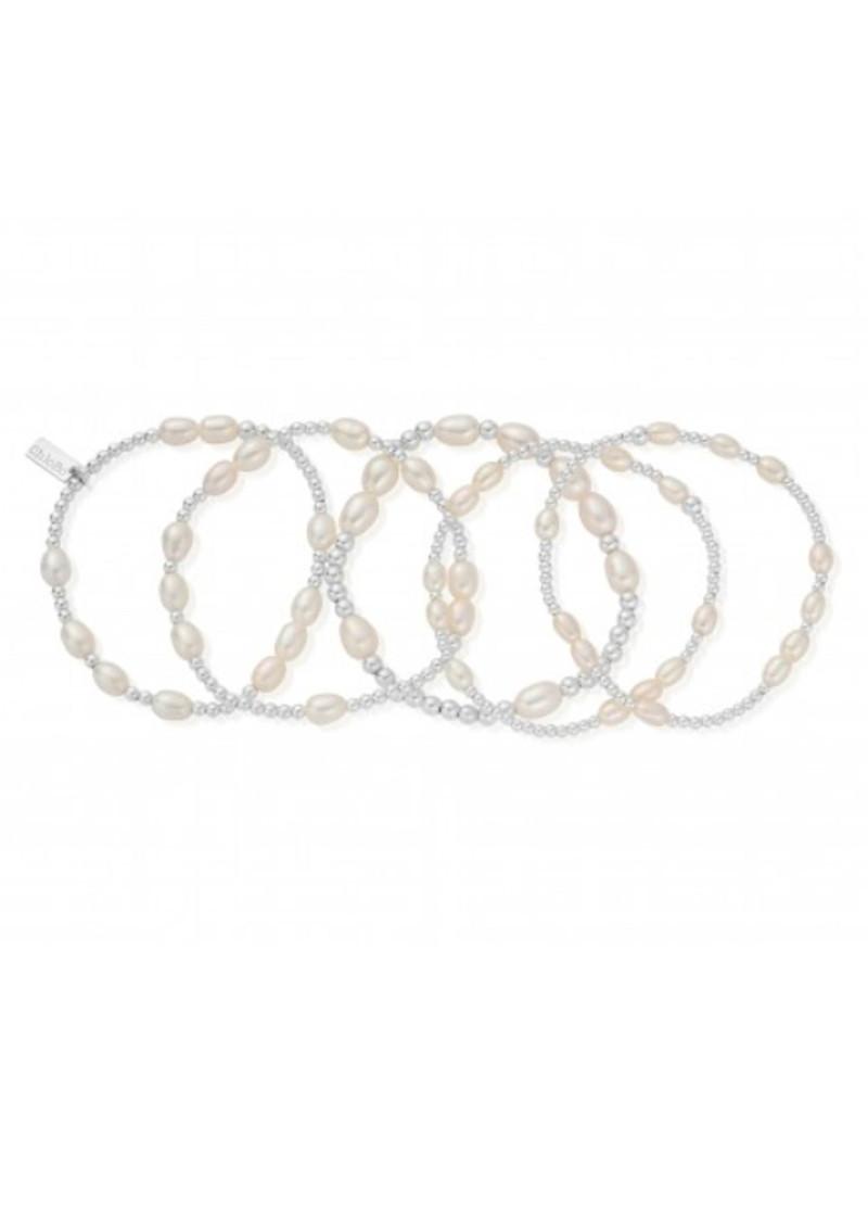 ChloBo Stack of 5 Random Bracelets - Pearl & Silver main image