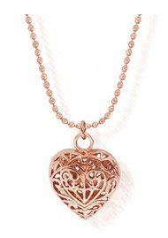 ChloBo Diamond Cut Chain Necklace with Filigree Heart Pendant - Rose Gold