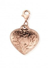 ChloBo Large Embossed Heart Pendant - Rose Gold